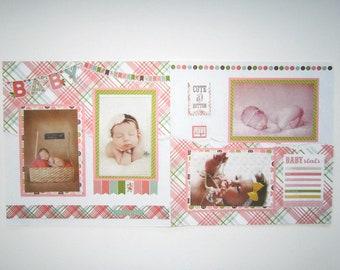 Baby Girl Scrapbook Pages - Baby Girl Scrapbook Layout - Baby Girl Pages - 12 by 12 Baby Girl Layouts - Premade Baby Girl Pages - Baby Girl