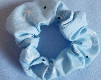 Pastel Blue Anchor Scrunchie 90's Retro Sailor Lolita Sax Navy Hair Tie Ponytail Holder Accessory Decora Kei Aesthetic