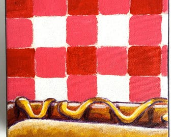 Hot Dog Painting, Original Painting, Food, Acrylic