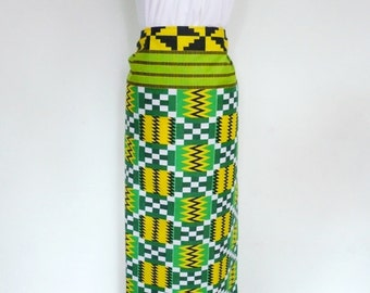 Green and Yellow Kente Print Ankara Lapa, Ankara Wrap Skirt,  African Wax Maxi Skirt - Made to Order