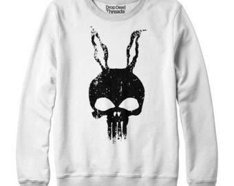 Donnie Darko cumple Punisher dibujado a mano culto película Jumper Sweater arriba del Mens