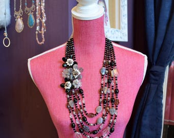 White Turquoise Black Agate Crystal & Freshwater Pearl Hand Wired Beaded Flower Statement Necklace.