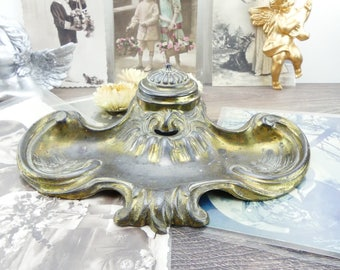 Former ink - ink brass - large antique Inkwell - double Inkwell - Parisian apartment - luxury french - chic - Paris