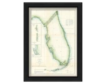 Coast of Florida - Nautical Chart 1855