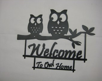 Pair Of Owls Welcome Sign Metal Decor