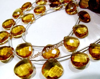Beautiful Citrine Hydro Quartz Faceted Heart Shape Beads , Hydro Quartz Briolette approx. 13mm Size Gemstone Beads , Length 8 inches long