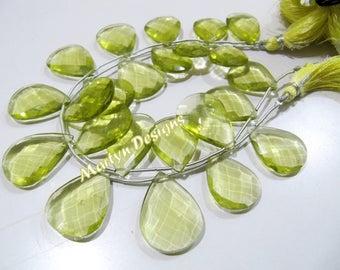 SALE- Faceted Pear Shape Lemon Quartz Gemstone Beads , Hydro Quartz Side Drilled 15x20mm to 18x25mm Size Briolette Beads , Length 8 inches