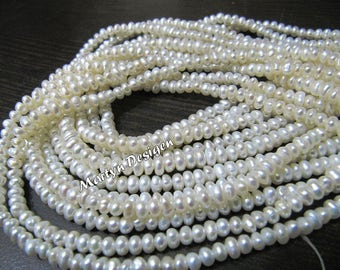 Natural White Pearl Strand for Jewelry , 4mm size Fresh Water Pearl Strand , approx 125 Beads per Strand , Sold per Strand 16 inches long