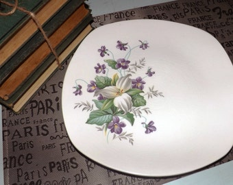 Mid-century (c.1950s) Stylecraft Woodside square dinner plate.  Made by Midwinter in England.  Purple and white flowers. MINT!