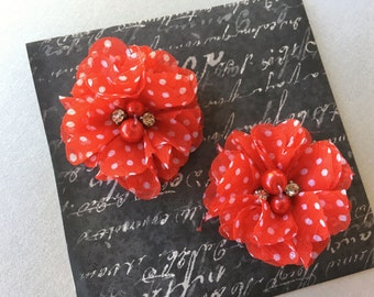 Red polka dot Baby Girl Hair Clips, flower hair clips, baby hair clips, polka dot, hair clips, flower, red and white polka dots