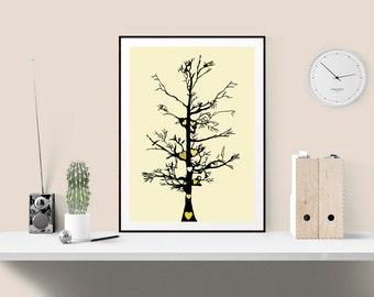 Yellow and black family tree heart print, Bold graphic print, ideal housewarming or anniversary gift, Great gallery wall print in pastels
