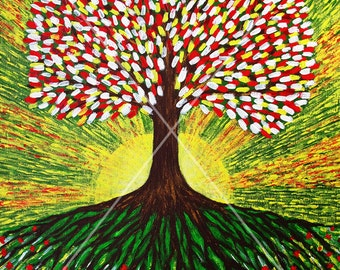 Tree of Life. Sunrise. Energy painting. Interior decoration.