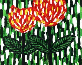 Red flowers on green background. Energy painting