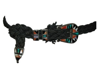 Zuni Native American Inspired Inlay Belt