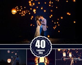 40 Sky Lanterns Photoshop Overlays Light Effect Wedding Party Holiday Overlays Photo Editing