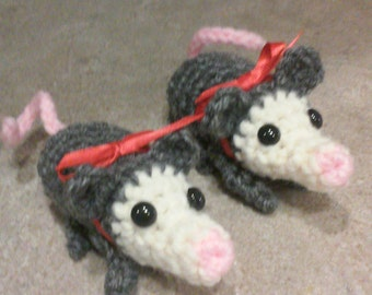 Crochet Baby Opossums, Stuffed Animals, Stuffed Toy, Wildlife, Animal Babies, Marsupial, Child Toy, Forest Animal