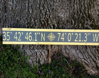 Personalized atitude longitude sign/custom longitude latitude wood sign/family GPS coordinates sign/distressed coordinates/yellow latitude