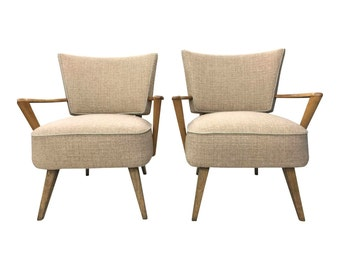 Mid Century Modern LOUNGE CHAIR Pair Heywood Wakefield arm 50s Newly Upholstered gray eames era side accent living room mcm blonde