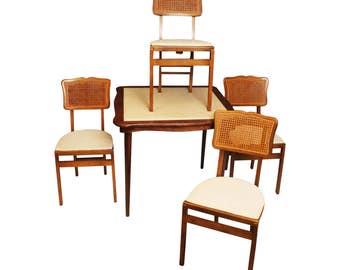 Vintage Stakmore FOLDING CARD TABLE & 4 Chairs Set antique dinette mid century modern breakfast caned caning danish beige vinyl dining