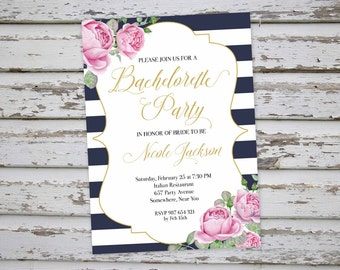 Bachelorette Invitation, Floral Bachelorette Party Invitation, Black White Bachelorette Invite, Hen Party Invitation, Hens Do Invitation DIY