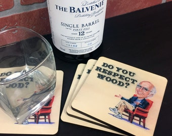 "Set of 4 ""Do You Respect Wood?"" Larry David Inspired Curb Your Enthusiasm Inspired Coasters, Wood Drink Coasters in Color Seinfeld"