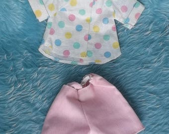 """CUTE Vintage Fisher Price My Friend Mandy Doll & Friends Or Similar 16"""" Dolls Handmade Dots Top w Striped Pink Shorts Set Outfit Clothes"""