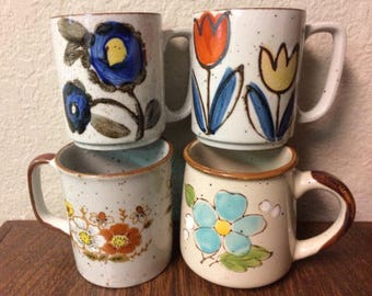 Vintage Stoneware Coffee Mugs, Floral Mugs, Mixed Lot of 4