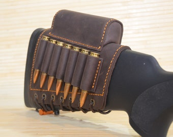 With cheek rest Leather buttstock cartridge holder, For 12,16,20 gauge, 223, 243, 270, 300, 308, 338 Ammo Cartridge, Best hunters Gift(047A)