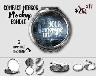 Round Compact Mirror mockup template | Pocket Mirror | Personalized Mirror | Digital Download | Stock Photography | Sublimation