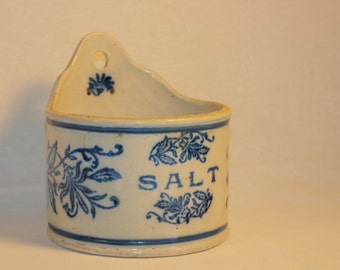 Antique Salt Glazed Blue And White Stoneware Wall Hanging Salt  Container