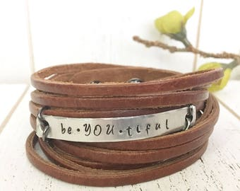Leather Wrap Bracelet, Shredded, brown 'BeYOUtiful' soft leather, double wrap, adjustable