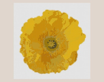hand embroidery,Yellow poppy Cross Stitch Pattern, abstract flowers cross stitch pattern, modern cross stitch pattern