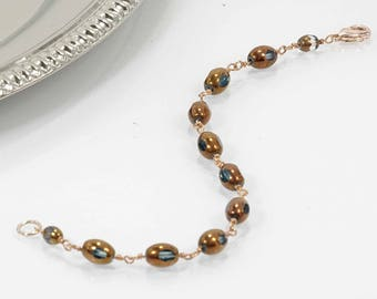 Rose Gold and Bronze Glass Bead Bracelet