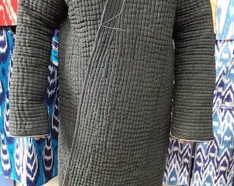 Uzbek ikat robe ,chapan.Handwoven Ikat Adras chapan from Uzbekistan