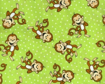 Laughing Monkey Green Polka Dot Cotton Printed Fabric by the Yard