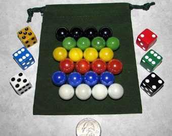 """MO-Marbles Six Player 5/8"""" Shiny Opaque Aggravation Wahoo Glass Marbles Game Set"""