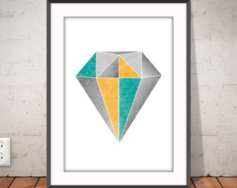 DIAMOND geometric print, Diamond color, Abstract poster, Nordic style, Modern minimalist art, Graphic home decor, Ikea Ribba frame, #2004