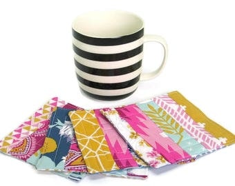 Handmade Quilted Patchwork Fabric Coasters, Tea Coffee Drinks Coasters, Fabric Scrap Coasters, Mug Placemats, New Home Gift - Set of 4