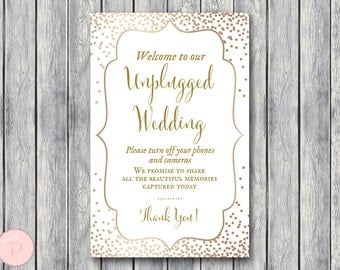 Gold Unplugged Wedding Sign, Unplugged Ceremony Sign, Printable Wedding Sign, Printable sign, Wedding decoration sign WD93 TH62