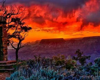 Grand Canyon Stormy Sunset at the Watchtower Fine Art Giclee Print, Modern Wall Art Featuring American Southwest Fine Art Nature Photography