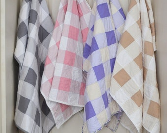 Gingham baby quilt - ANY COLOR - Gingham quilt