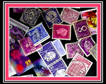 25 vintage used stamps color mix - For crafting or collecting. Available in many colors.