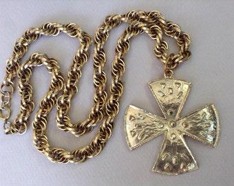 Gold Tone Maltese Cross Pendant Chain Necklace