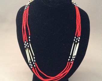 Four Strand Porcupine Quill Southwestern Beaded Necklace Leather Neck Strap