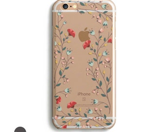 Flower iphone 6 case, Flower iphone case, Flower phone case, transparent iphone 6s case, clear iphone case with design, iphone 6s plus, case