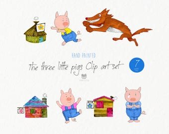 Watercolor clip art, the three little pigs, animal, vector, nursery art, watercolor, wolf, kids book, instant download