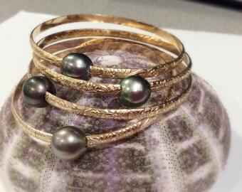 4mm gold filled Hawaiian bracelet with Tahitian pearl