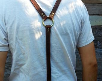Chocolate Brown Leather Steampunk Skinny Suspenders or Braces
