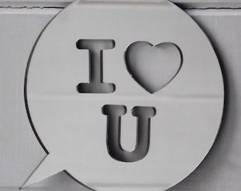 I LOVE U Text Speech Bubble Acrylic Mirror