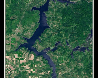 Lake Coeur d'Alene Idaho From Space Satellite Poster Map